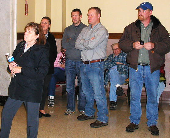 Debbie Blank | The Herald-Tribune<br /> Watching returns are (from left) Batesville I inspector Cindy Linville; Liz Kellerman, Batesville; deputy prosecutor Chris Huerkamp; Franklin Circuit Court Judge Clay Kellerman; Lou Linkel (sitting), former commissioner and dad of current Commissioner Tom Linkel; and new Commissioner Eric Roberts.