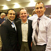 San Jose Councilmember Ash Kalra (from left) and county Supervisor Dave Cortese congratulated State Assemblyman Bob Wieckowski on his victory. Photo by Jessica Shirley-Donnelly