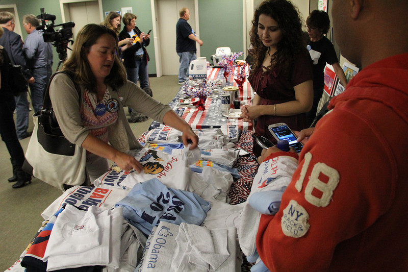 Obama swag was was everywhere at Democratic Party headquarters. Next stop, Berryessa Flea Market.<br /> Photo by Matt Crawford