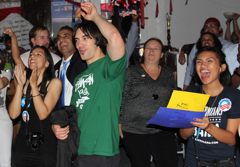 A celebration, complete with with disco lights and a Rihanna soundtrack, broke out at Obama headquarters after CNN called the victory. Photo by Matt Crawford