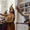 Angkor Dance Troupe's Blessing Dance at Khmer New Year celebration at Element Care in Lowell. From left, Theresa Tha of Lowell, Virginia Prak of Nashua and Roselynn Soung of Lowell. (SUN/Julia Malakie)