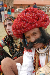 Performers at the Festival. Elephant Festival 2009 being celebrated in Jaipur on 10th Mach 2009. The elephant festival, Jaipur (Hindi: जयपुर),, is one of the most fascinating events organized in Rajasthan. This one day event coincides with Holi, the Indian festival of colors. The handlers or mahouts decorate their elephants in regal attire, and make them walk in procession at the start of the day. The procession heads to the Chaugan, the vast ground in Jaipur where this festival is hosted. The procession is watched by thousands of tourists and locals. Jaipur, Rajasthan, India.
