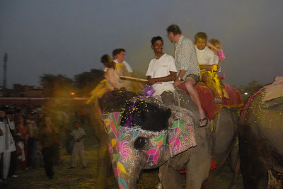 Colour being thrown at the crowds from atop the elephants. A few tourists volunteered to be a part of the show. Elephant Festival 2009 being celebrated in Jaipur on 10th Mach 2009. The elephant festival, Jaipur (Hindi: जयपुर),, is one of the most fascinating events organized in Rajasthan. This one day event coincides with Holi, the Indian festival of colors. The handlers or mahouts decorate their elephants in regal attire, and make them walk in procession at the start of the day. The procession heads to the Chaugan, the vast ground in Jaipur where this festival is hosted. The procession is watched by thousands of tourists and locals. Jaipur, Rajasthan, India.