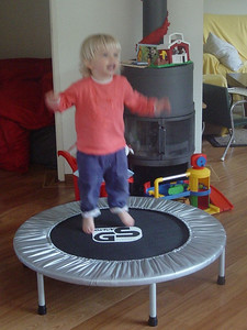 But the best present came from Great-grandma: a trampoline!!!