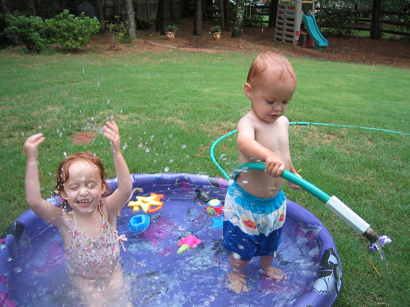Elizabeth and Henry are best buddies!  They played in the pool while Jackson and Caroline went bowling with a friend.