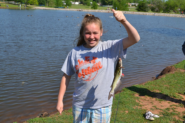 Kdeebeth Pettijohn shows off her latest catch.