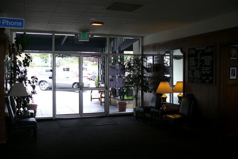entrance way into the lodge; BIG parking lot outside.