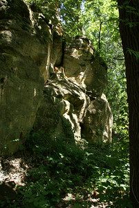 Sandstone bluffs in Faris Caves area