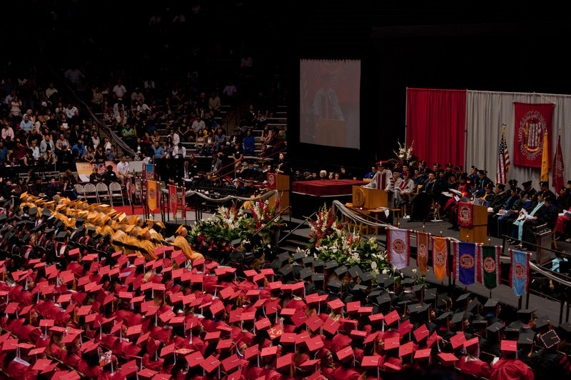 Graduation ceremony at the Pit. The ceremony started with a speech by the chair of the Board of Regents.