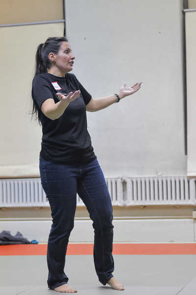 Ashleigh Fox | The Sheridan Press<br /> Empower Wyoming instructor Stormy Broad explains a verbal tactic to participants of the women's self-defense class Dec. 27, 2017. In addition to physical defense, Broad provided verbal defense training.