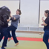 Ashleigh Fox | The Sheridan Press<br /> Val Burgess attacks an Empower Wyoming instructor during the women's self defense class Dec. 27, 2017. Empower instructor Stormy Broad guided participants through the drills.