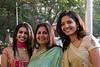 Jaina & Poorva with Jayshree <br /> gathering at Diamond Garden before proceeding to the wedding venue