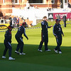 England bowling warm up: unkown, Rashid, Sidebottom and Bresnan.