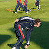 Sidebottom stretches while Bopara throws