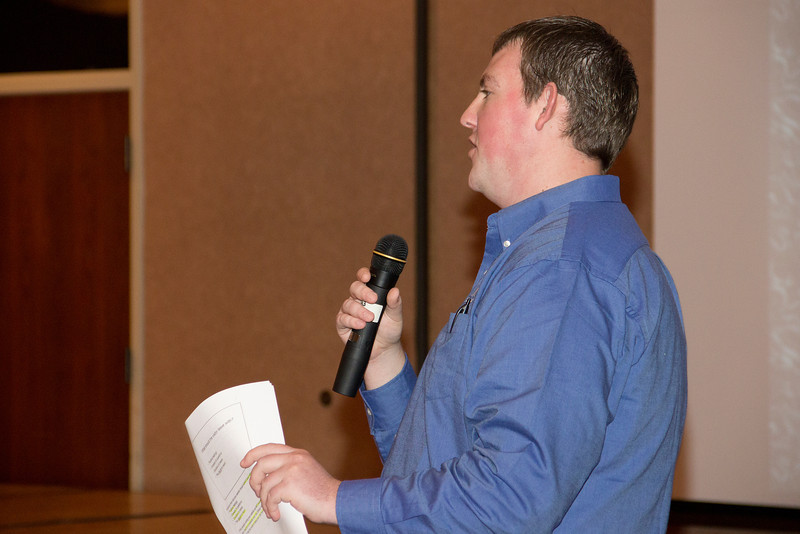 Andrew Borgialli, a Chadron State College student who works for the Nebraska Business Development Center, speaks during the Entrepreneurship Extravaganza on Nov. 3. (Photo by Justin Haag)