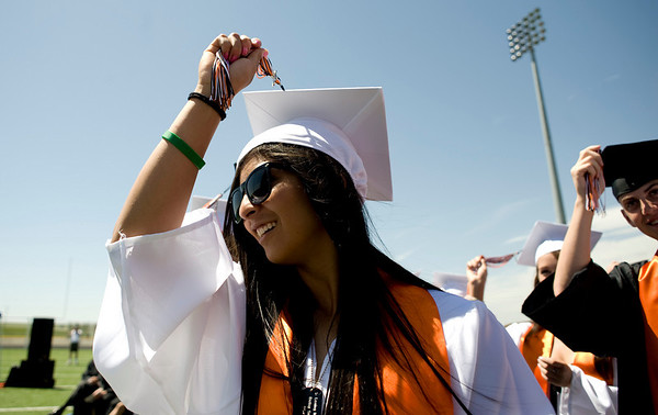 Erin Ruiz, 18, turns her tassel at the end of the Erie High School graduation in Erie, Saturday, May 29, 2010. <br /> <br /> Kasia Broussalian