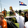 Erin Ruiz, 18, sprays silly string in to the air as Cooper Cramblet, 18, readies to throw his cap at Erie High School graduation in Erie, Saturday, May 29, 2010. <br /> <br /> Kasia Broussalian