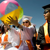 Rachel Dilsaver, 18, throws a beach ball behind her at the Erie High School graduation in Erie, Saturday, May 29, 2010. <br /> <br /> Kasia Broussalian