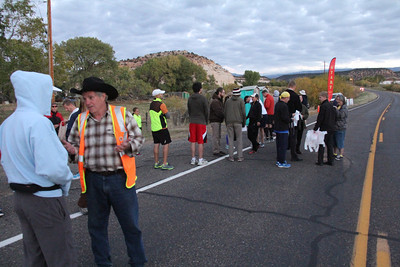 Drew Parkin getting the Runners to the Starting Line the 2nd Annual Escalante Canyons Marathon is about to begin. The beautiful Sunrise start of our Marathon made for some great Imagery and Amazing views for our runners.