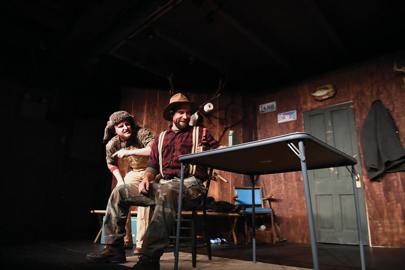 "Matthew Gaston | The Sheridan Press<br>From left: Carston Wills and Jordan Davis perform as Rueben and Albert Soady in Dan Cole's production of ""Escanaba in da Moonlight"" Wednesday, Nov. 21, 2018."