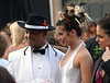 Modeling for Tony and Guy beauty school are Charles Evans and Emmie Langlois at the Essence of Ambler Fashion Show Friday, Sept 5, 2014. <br /> Montgomery Media staff photo by Bob Raines