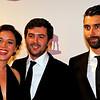 """Victor Ponten en Jim Taihuttu op weg naar het Gala van het Nederlandse Film Festival. Zij zijn genomineerd voor de Prijs van de Nederlandse Filmkritiek wegens de film """"Rabat"""""""