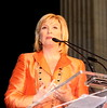 """Allison Rosotti, award winning co-anchor of NBC5 News Chicago speaking at Apna Ghar """"Taste for Life"""" event at Union Station, Chicago."""