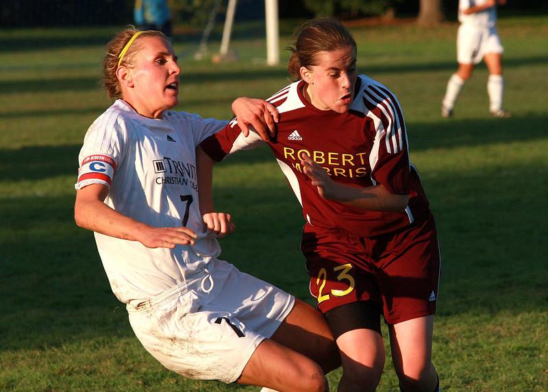 Trinity Christian College and Robert Morris University women's soccer match