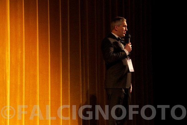 """Director Grant Hamilton answers questions after the world premier of his first film, """"Time Zero: The Last Year of Polaroid Film""""."""