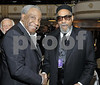 """Jerry Butler congratulates Kenny Gamble before he sings one of his collaborations of """"Only the Strong Survive"""" at the Gamble and Huff induction at the Rock and Roll Hall of Fame in New York, NY on Monday March 10, 2008<br /> (AP Photo/Earl Gibson III)"""