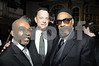 Leon A. Huff is joined by Tom Hanks and his musical partner Kenny Gamble in the main ballroom at the Rock and Roll Hall of Fame. Both Leon A. Huff and Kenny Gamble were inducted on Monday March 10, 2008 in New York, NY.<br /> (AP Photo/Earl Gibson III)