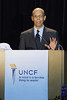 Dr. Michael L. Lomax, UNCF President & CEO unveils the new brand identity  on the campus of Spelman College in Atlanta, Georgia on Thursday, January 17, 2008<br /> (AP Photo/Earl Gibson III)