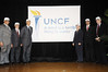 Dr. Michael L. Lomax, UNCF President & CEO unveils the new brand identity  on the campus of Spelman College in Atlanta, Georgia on Thursday, January 17, 2008 with distinguished guest (left to right) Dr. Edward P. Wimberly, Vice President of Affairs Interdenominational Theological Center,Willis B. Sheftall Jr. Interim Vice President for Academic Affairs and Provost Morehouse College, Dr. Michael L. Lomax, President and CEO-UNCF, Dr. Beverly Tatum, President-Spelman College, Dr.Carlton E. Brown, Executive Vice President and Provost-Clark Atlanta and Hayes Roth, Chief Marketing Officer-Landor Associates, creators of the new UNCF look<br /> (AP Photo/Earl Gibson III)