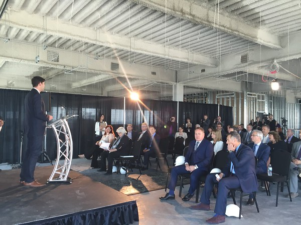 Mayor Don Iveson addresses VIPs at the 25th floor Topping Off Ceremony for Edmonton Tower.