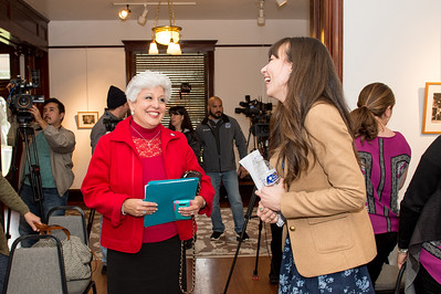 Mayor Nelda Martinez(left), speaks to C-SPAN representative Ashley Hill.