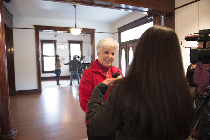 Mayor Nelda Martinez, being interviewed during the C-Span press conference in the Galvan House in Corpus Christi, Tx.