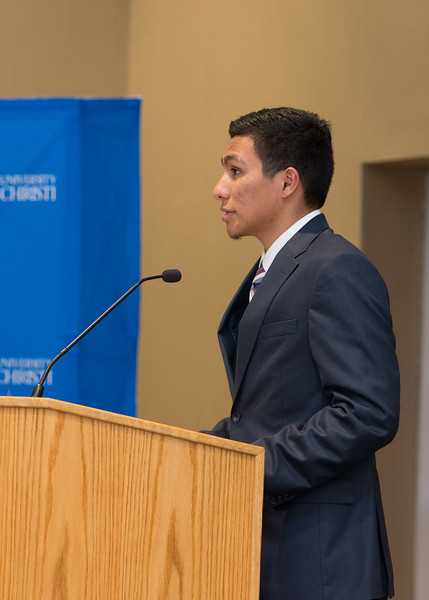 "SGA president Angel Monjarraz, speaks during the State of the Student Government in  the Anchor Ballroom. <a href=""https://flic.kr/s/aHskaQiri6"">https://flic.kr/s/aHskaQiri6</a>"
