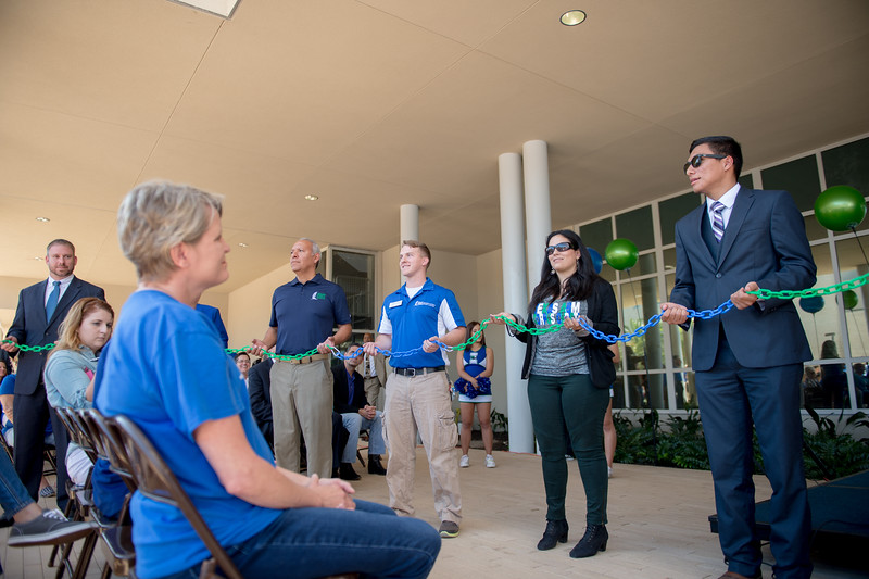 TAMU-CC department representatives joined a link to show the unification of departments in the university center.