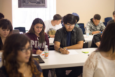 Robyn Villarreal, Corrine Riley and Brandon Clark attend a Financial Literacy class that assists in understanding financial situations in the work environment throgh the TAMU-CC College of Business in partnership with Coastal Compass.