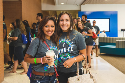 Chelsea Lacost and Anissa Falcon pause for a photo during summer New Student  Orientation in the University Center.