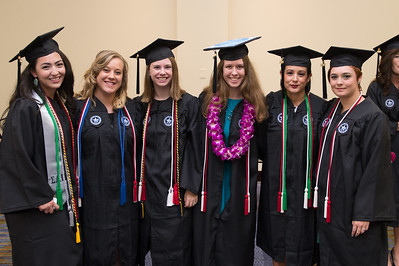 TAMU-CC graduates Heahter Selim(left) Dixie Renfrow, Miranda Lindley, Katie Gonzalez, Adrienne Flores and Caitlin Becho. Saturday August 8 at the TAMU-CC Summer Commencement ceremony.