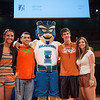 Destiny Ojeda(left) Connor Stancil, Michael Neal and Brittany McClain gather for a photograph with Izzy on stage in the PAC during New Student Orientation. Monday August 10, 2015.
