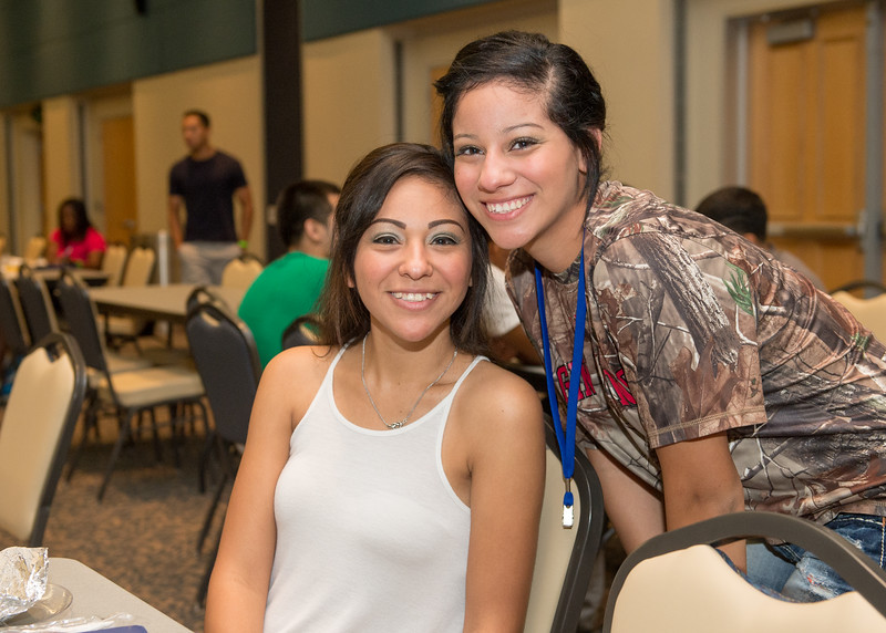 Emily Flores and Natalie Flores during New Student Orientation on Monday August 10, 2015.