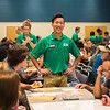 Orientation Leader, King Wu assists upcoming freshmen during summer orientation.