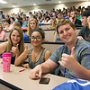 Students Taylor Edgell(Left) ,Alexa Brown, Brendan Clifford enjoy their new orientation student section