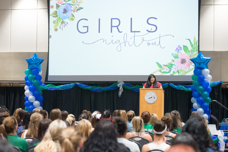 Student Government Association President Jasmine Rodriguez welcomes the students to the TAMU-CC Girls Night Out event. Over 500 students attended the event welcoming them into college.
