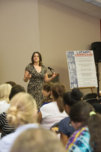 Dr. Kelly Bezio hold a disscusion on latino American as apart of Hispanic Heritage Month 's Film Screenings event.