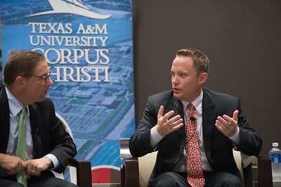Mike Wetz(left) and Toby Baker during the Texas Tribune Event. Monday September 28, 2015 at TAMU-CC.