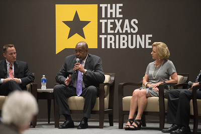 Toby Baker(left) John Hall and Geanie Morrison. During the panelists discussion on the environment over the next five years. Monday September 28, 2015 at the Texas Tribune Event held at TAMU-CC