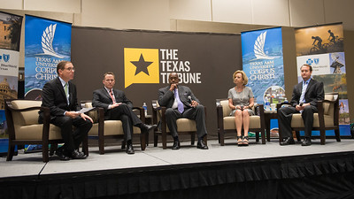 Evan Smith(left) Toby Baker, John Hall, Geanie Morrison and Mike Wetz. The panelists during the Texas Tribune's event held at TAMU-CC on Monday September 28, 2015.